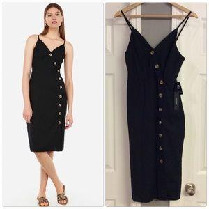 Express Black Asymmetrical Button Skirt